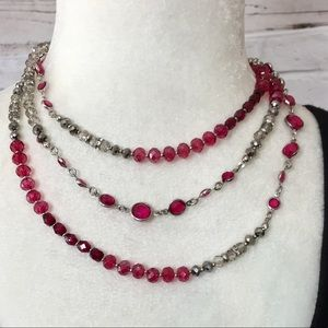 New Pink & silver tone crystal adjustable necklace